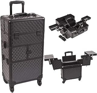 Sunrise I3664DMAB Black Diamond 3 Tiers Accordion Trays 4 Wheels Professional Rolling Aluminum Cosmetic Makeup Craft Storage Organizer Case and Multiple Expandable Trays