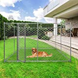 LONABR Metal Dog Kennel Puppy Playpen with/Without Water-Resistant Cover,Heavy Duty Outdoor Cage for Large Dogs with Lockable,10x10x6ft