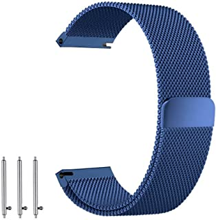BarRan Replacement Watch Band for Huawei Watch 2, 20mm Milanese loop mesh Quick Release Magnetic Clasp Stainless Steel Rep...