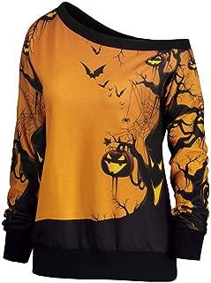 iYBUIA Halloween Party, Women Skew Neck Pumpkin Print Sweatshirt Jumper Pullover Tops