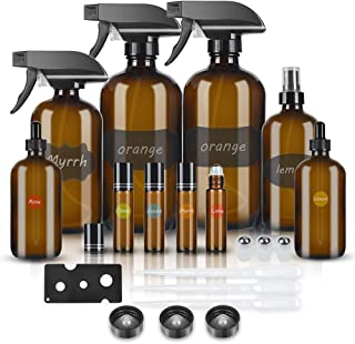 Glass Spray Bottle, Amber Glass Spray Bottles Set Roller Bottles for Essential Oils, Cleaning Products or Aromatherapy (16OZ x2, 8OZ x1, 4OZ x1, 2OZ x2 Dropper Bottle, 10ML x4 roller bottles)