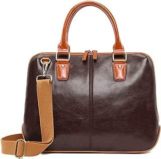 Business Leather Briefcase for Men ZVEproof 14.5 Inch Laptop Bag Waterproof Messenger Shoulder Bag Brown Coffee
