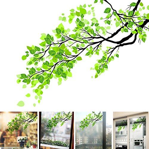 58 x 60 cm grüne Blätter Sichtschutz Glas Aufkleber Pflanze gefrostet Home Dekoration Schiebetür Balkon Badezimmer Fenster Aufkleber (grün)