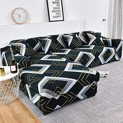 ZJXSNEH Sofa Überwürfe Sofabezug Elastische Stretch Sofabezüge für L-Form Sofa Abdeckung Blaugrün-Muster 3seater + 3seater
