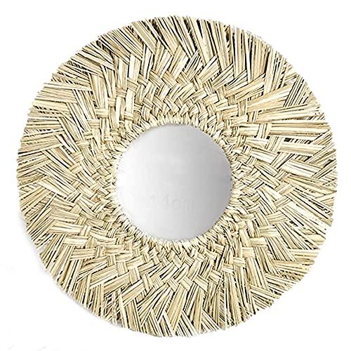 Espejo Colgante Decorativo De Estilo Nórdico Espejo De Pared De Hierba Tejida a Mano Estilo Nórdico Redondo Redondo Decorativo Espejo Tejido Tejido De Ratán Maquillaje Espejo De Maquillaje