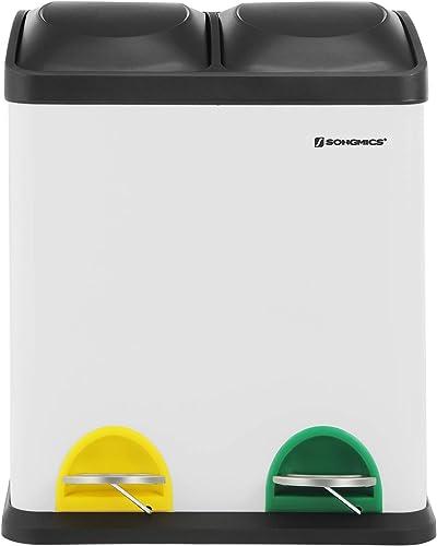 SONGMICS Poubelle de recyclage 30L, Poubelle de tri, avec pétales, en acier, 2 compartiments, 2 x 15L seaux intérieur...