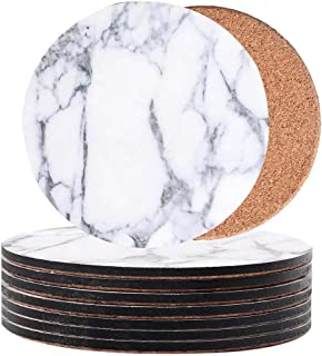 Print Drink Coasters Set of 8 - Marble Pattern Cork Round Coaster used for Home Outdoor Restaurant Decoration Housewarming...