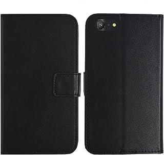 TienJueShi ブラック 耐汚れ スタンド 財布 レザー 合皮 カード収納 カバー ケース ポーチ 手帳型 maze alpha X 6 インチ
