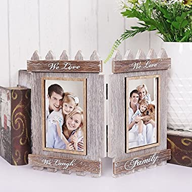 V&M VALERY MADELYN Rustic Family Picture Frames Collage Folding Wood Photo Frame 2 Opening 4x6 inch (Family Collection)