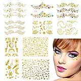 Tatuajes temporales cara, Tatuajes de cara temporales metálicos. Pegatinas de maquillaje a prueba de agua para mujeres en el festival y en el escenario (10 hojas)