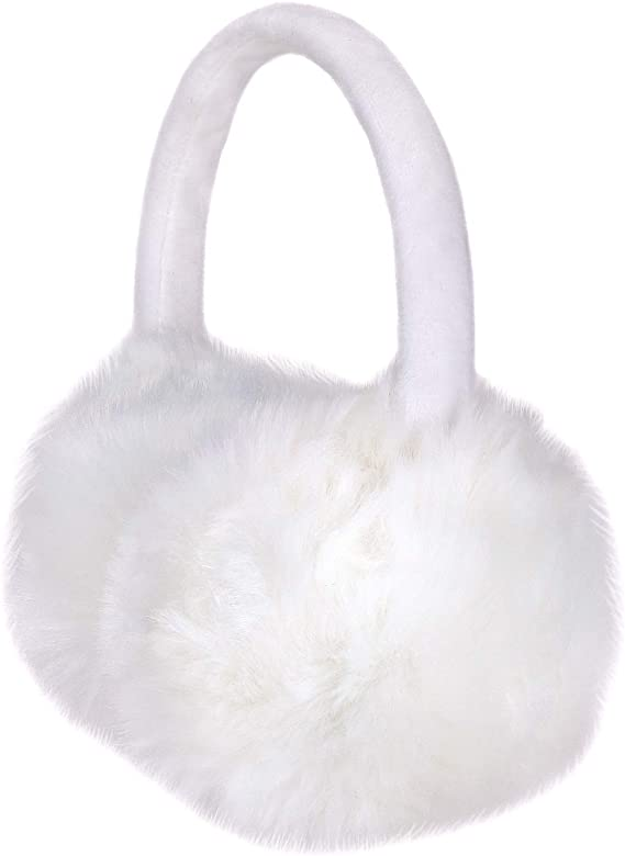 Sudawave Girls Winter Warm Adjustable Knitted Faux Fur Plush Earmuffs Warmers