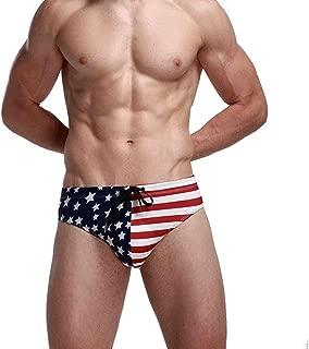 Men's America Flag Stars Low Rise Swimwear Bikini Briefs Beach Swimsuit