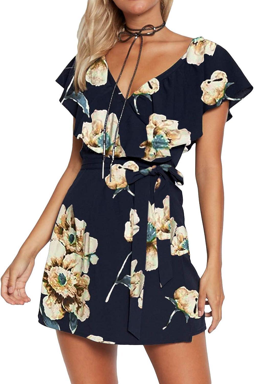 YOINS Summer Dresses for Women Deep V-Neck Self-tie High Waist Mini Casual Dress