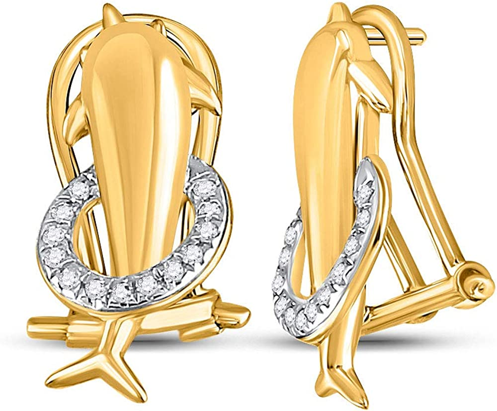 Diamond Earrings Solid 10k Direct sale of manufacturer Yellow Studs Dolphin Gold Translated French-clip