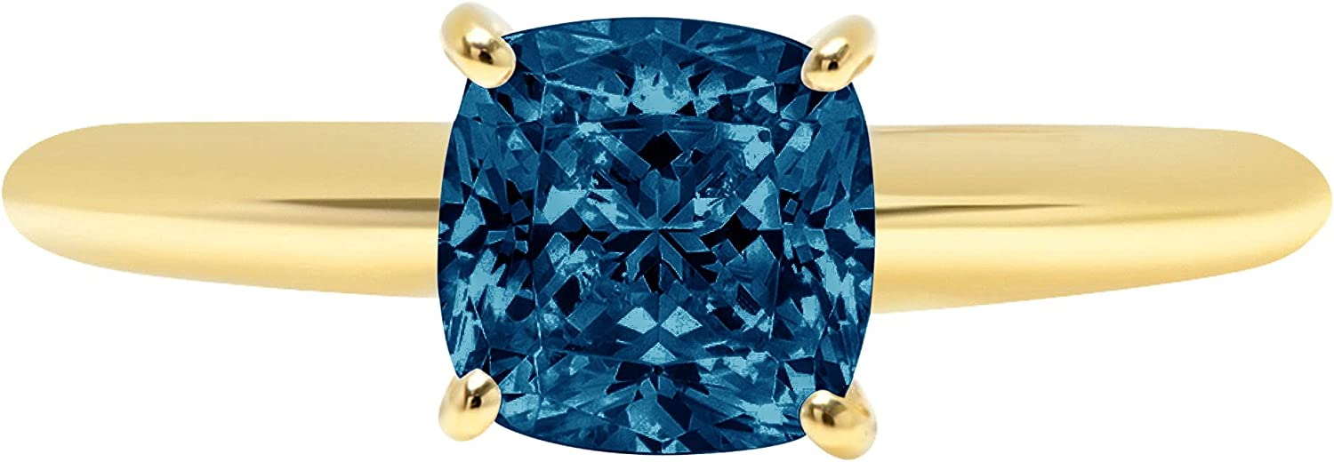1.0 ct Brilliant Cushion Cut Solitaire Natural London Blue Gem Stone Ideal VVS1 4-Prong Engagement Wedding Bridal Promise Anniversary Ring Solid Real 14k Yellow Gold for Women