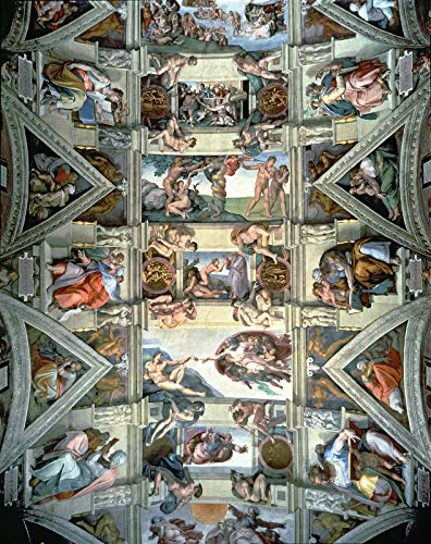 "Michelangelo Buonarroti Sistine Chapel Ceiling and lunettes Vatican Museums and Galleries, Vatican City, Italy 24"" x 19"" Fine Art Giclee Reproduction Canvas Print (Unframed)"