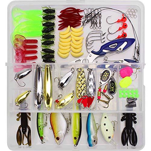 VOANZO Juego de 101 señuelos de pesca con caja de aparejos que incluye anzuelos, anzuelos giratorios para pesca para lubina, trucha, salmón