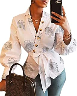 Women's Wrap Front Button Up Letters Printed V-Neck Long Sleeved Tee