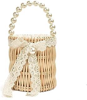 GSERA Perle Strohsack Weiblich Runde Fass Taschen Wilde Mini Retro Gas Rattan Handgewebte Perle Handtasche