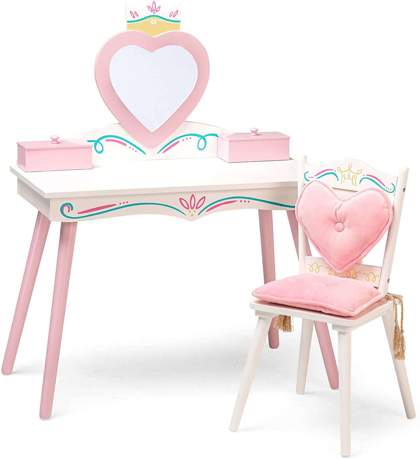 Wildkin Kids Princess Wooden Vanity and Van Set Be super welcome Chair Shipping included for Girls