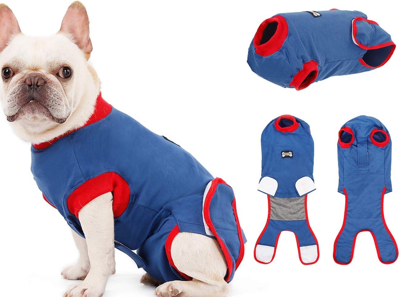 Tineer Dog Recovery Suit - Pure Cotton Alternativa E-Collar de Perro, Proteger Las heridas Cachorro después Desgaste del Animal doméstico Cirugía - Prevenir lamer, morder y Otras Mascotas Acoso (S)
