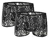 AIEOE – sous-vêtements Boxers Hommes Garçons Dentelles Florales Sexy Lot de 2 Culottes Bikini Brief Respirant Lace Transparent Ciselée Élastique Doux – Taille L – Noir