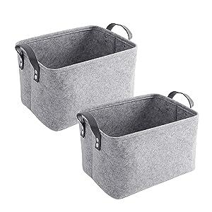 AkiiGer Felt Storage Basket 2 Pack, Foldable Storage Boxes Laundry Hamper Baskets with Handles, Storage Bin Organizer, for Clothing, Magazine, Toys, Books(Light Grey)
