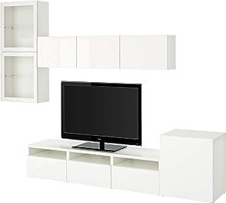 BESTÅ TV combinación de almacenamiento combinación/puertas de vidrio 300x211 cm blanco/Selsviken alto brillo/blanco crista...