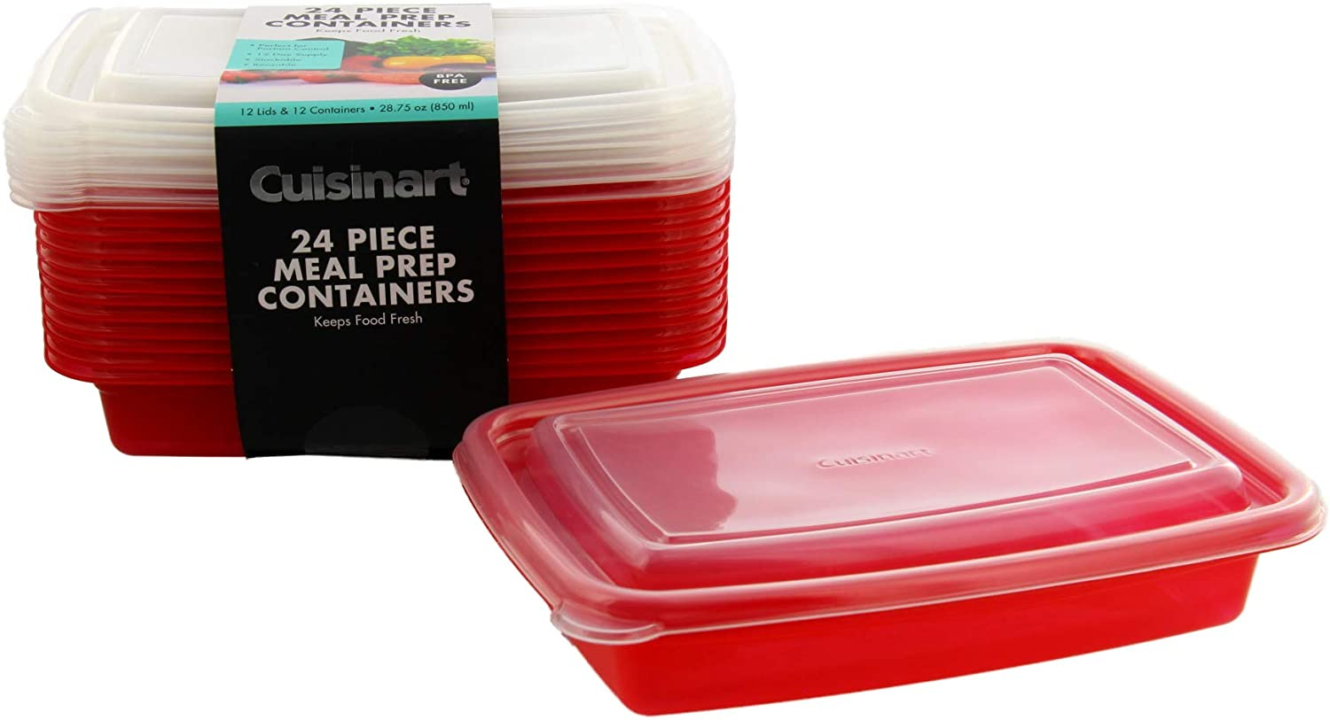 2021 new Cuisinart 1 Compartment Super popular specialty store Meal Prep of Containers Piece 24 Set