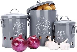 G.a HOMEFAVOR Boîte de Conservation pour Pommes de Terre, Oignons et Ail, Boîte de Rangement en Métal Cuisine, Gris Pot à ...