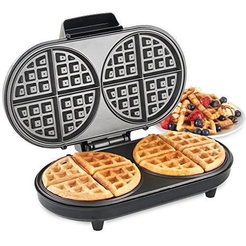 VonShef Round Waffle Maker – Large 2 Slice Stainless Steel Waffle Iron with Non-Stick & Easy to Clean Plates, Cool Touch Handle & Automatic Temperature Control – Compact & Portable Design - 1200W