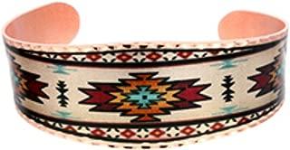 Copper Cuff Wrist Bracelet Handmade - Colorful Southwest Aztec Design