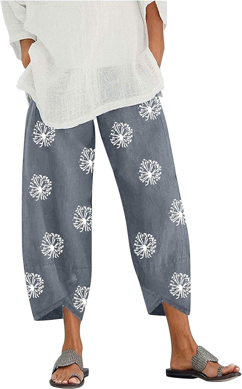 Baggy Capri Pants for Women,Kcocoo Summer Casual Dandelion Wide Leg Crop Pants Y2k Vintage Harem Trouser with Pockets