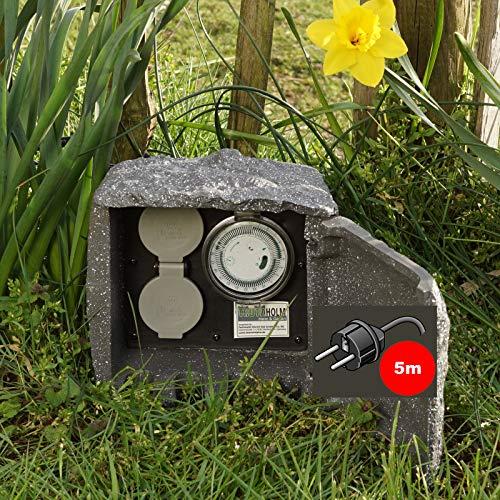 TRUTZHOLM Außensteckdose Stein 5m Kabellänge Steckdose 2-Fach mit Zeitschaltuhr Gartensteckdose Mehrfachsteckdose Steckerleiste Gartendose