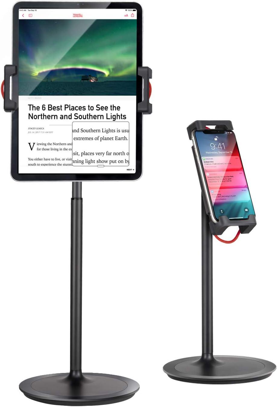 "Tablet Ipad Stand Holder, SAIJI Adjustable Phone Stand, 360 Degree Rotating, Aluminum Alloy Cradle Desktop Holder Dock for 4.7""-12.9"" Screen Phones, iPad, Nintendo Switch, Kindle, eBook Reader (Black)"