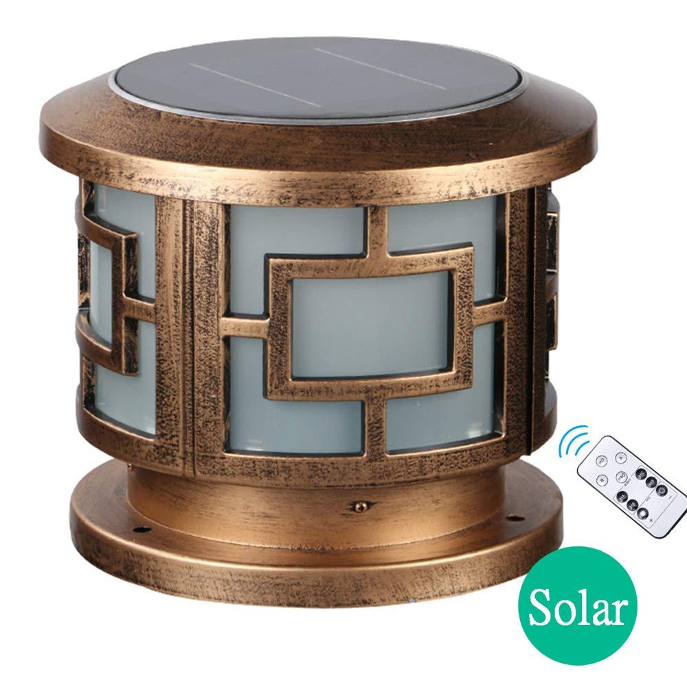AWISAWIS Luces de Pedestal LED Solar Exterior, IP65 Impermeable Luces de Jardín con Control Remoto Lámpara de Exterior Pedestal, Terraza Escalera Lámpara de Sobremuro para Jardín Caminos,H:24.5: Amazon.es: Hogar