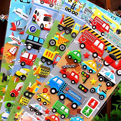 4sheets Children Puzzle Cartoon Car Sticker Toy Puffy Sticky 3D Car Truck Bubble Sticky Paper Painting Toys For Boys Girls Gift