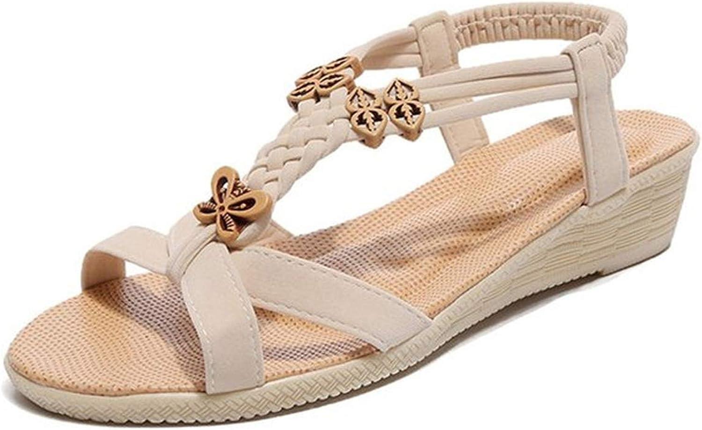 Women Sandals Bohemian Flat Platforms Sandals Casual Sweet Beaded Clip Toe Flip Flops shoes