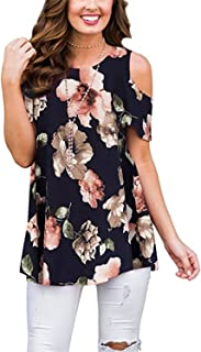 Womens Cold Shoulder Shirts Short Sleeve Casual Floral Tunic Tops