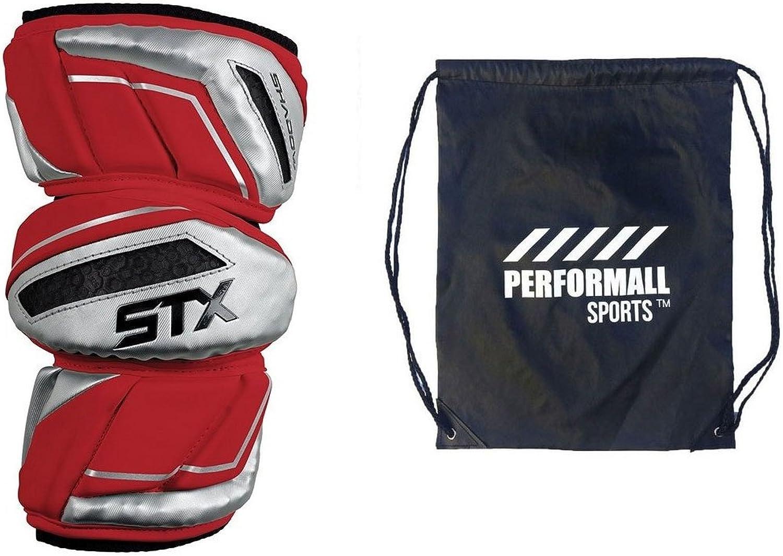 (Medium, Red)  STX Bundle  Shadow Lacrosse Arm Pads with 1 Performall Sports Drawstring Bag