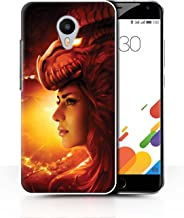 Official Elena Dudina Phone Case / Cover for Meizu M1 Metal (Blue Charm) / Red Girl Design / Dragon Reptile Collection