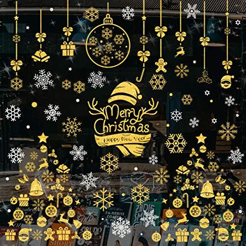 Pegatinas de Navidad, Wokkol Adornos Navideños, Pegatina Copo de Nieve, PVC Extraíbles Ventanas Pegatinas de Navidad Hacen Que el Hogar esté Lleno de Ambiente Navideño(10PCS-Color Dorado y Plateado)