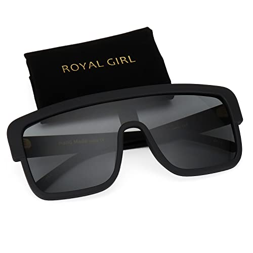 4df806542b ROYAL GIRL Premium Oversized Sunglasses Women Men Flat Top Square Frame  Shades