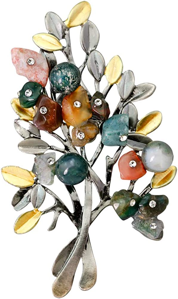 Walbest Brooch Pins for Women, Vintage Christmas Tree Colorful Rhinestone Brooch Pin Breastpin Badge