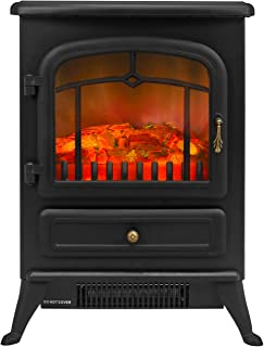 Bathonly Electric Fireplace Free Standing Heater, Compact Metal Electric Fireplace Stove with 3D Flame Effect, 750/1500W Space Heater Ultra Strong Power&Overheating Safety Protection -Black