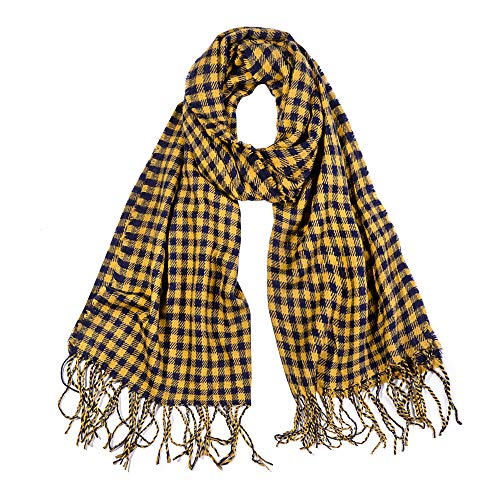 SOJOS Womens Plaid Scarf Large Long Blanket Check Wrap Shawl with Tassel SC315 with Yellow&Blue Plaid