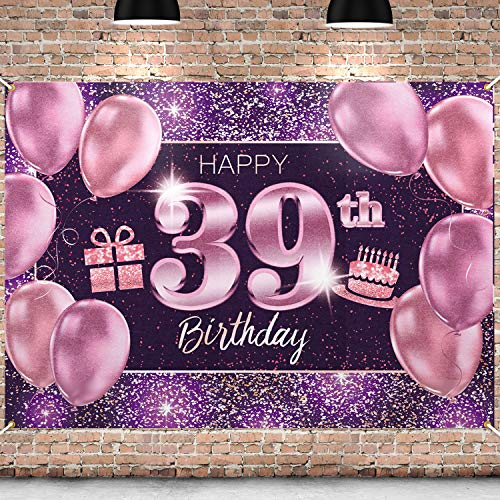 PAKBOOM Happy 39th Birthday Banner Backdrop - 39 Birthday Party Decorations Supplies for Women - Pink Purple Gold 4 x 6ft