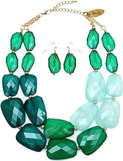 Multi Greens Emerald Jade Malachite Colored Resin Big Chunky Collar Statement Necklace