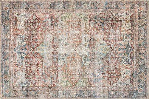 Loloi Loren Collection Vintage Printed Persian Area Rug 3'-6' x 5'-6' Brick/Multi