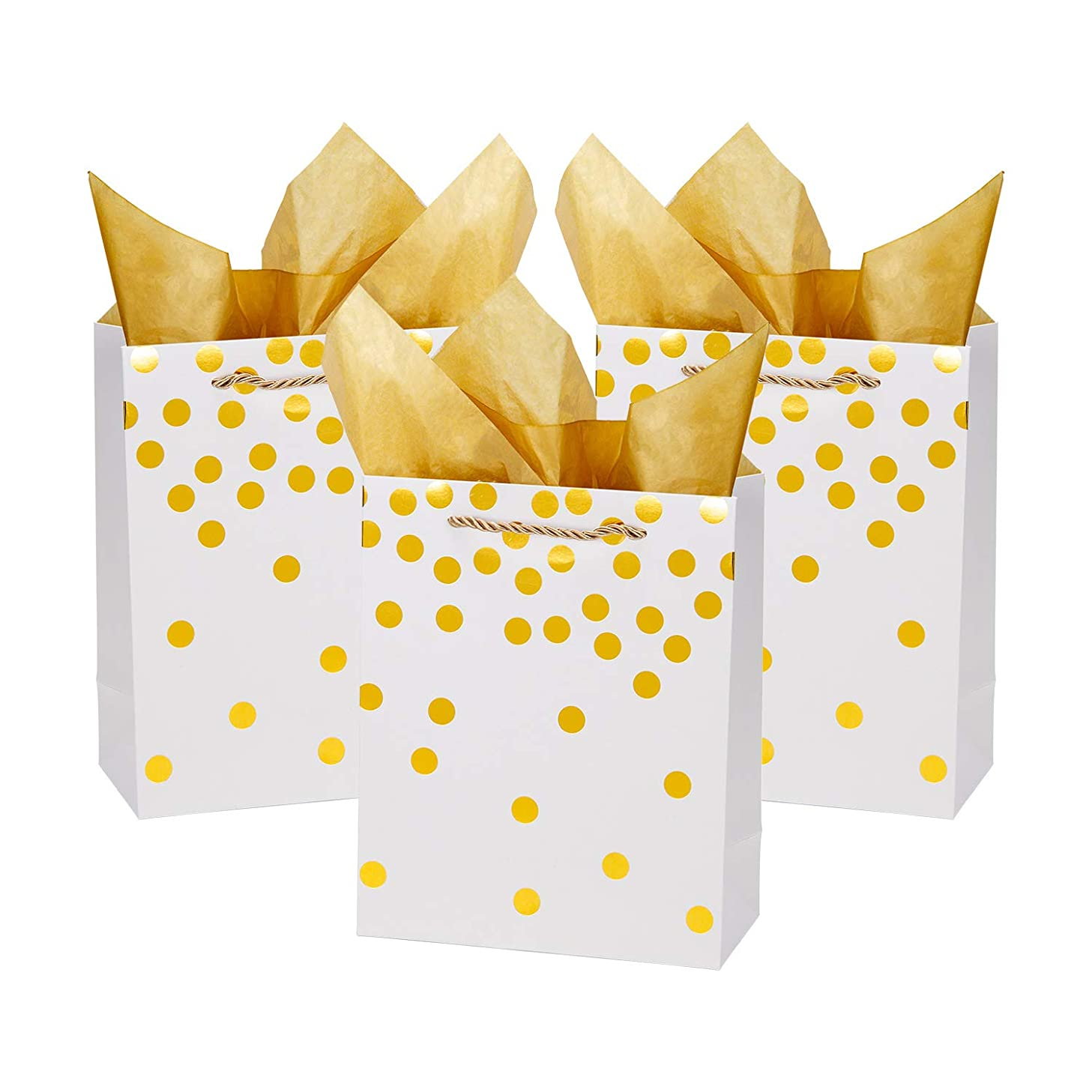 Loveinside Dots Foil Gift Bags -Gold Foil White Paper Gift Bag with Tissue Paper for Wedding,Birthday Present-12Pack -8